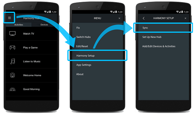 synchronisation d'Harmony à partir d'un mobile
