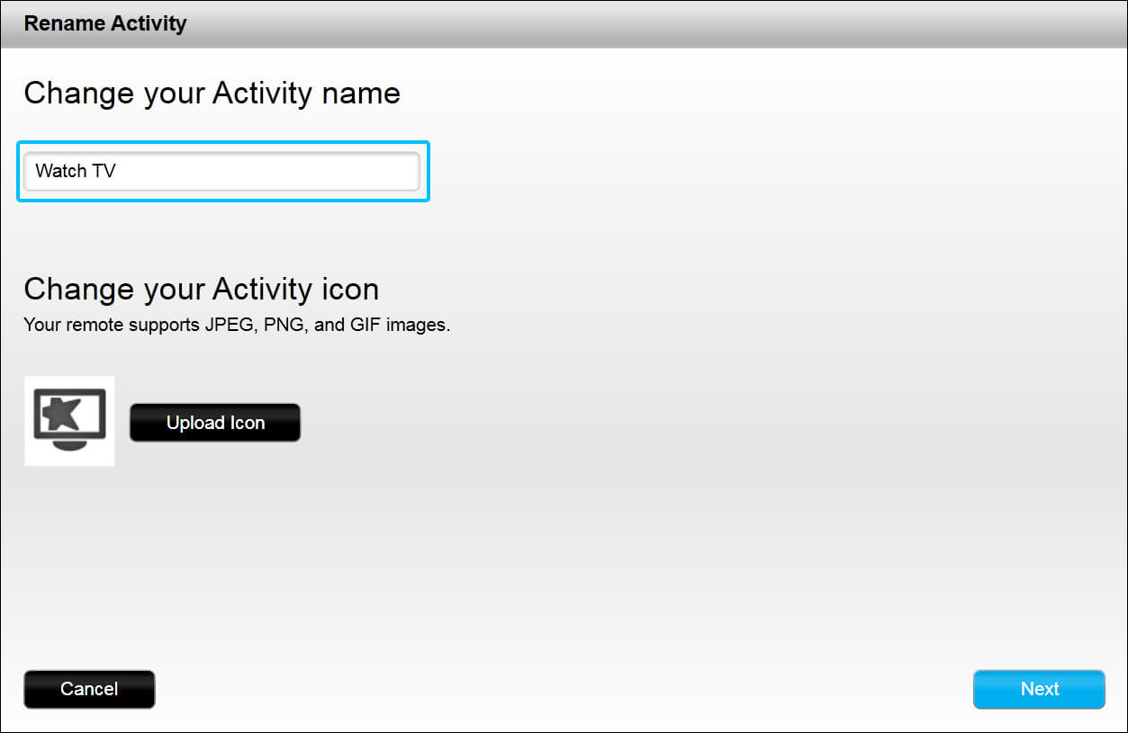 Uploading an Activity icon